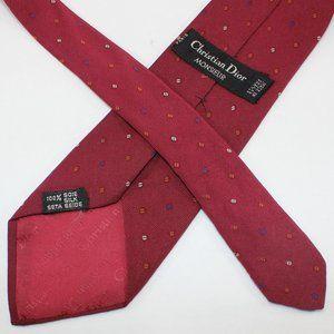 VTG Christian Dior Tie Red w Multicolour Check EUC